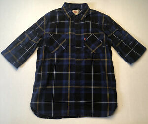 Mens Levi's Plaid Sz Small Blue & Yellow, Long Sleeve Shirt