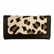 ILI NEW YORK Leather Flap Over Snap Wallet ~ Leopard Print and Black Leather