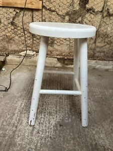 White Painted Solid Wooden Round Stool 18in 46cm high
