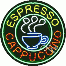 "New ""Espresso Cappucino"" 26x26x3 Round Real Neon Sign w/Custom Options 11141"