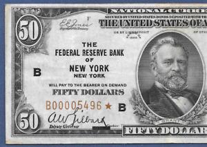"1929 $50 FRBN  ""NEW YORK""  ♚STAR♚    ♚STAR♚   PCGS VF 30  LOW S/N:00005496"