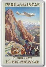 Peru of The Incas Pan Am, South America – Vintage Travel Fridge Magnet