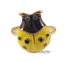 Gold Yellow Ladybird Ladybug Bug Insect Costume Jewellery Adjustable Ring