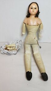 """Antique English 1850s Slit Head Wax Cloth Doll 19"""" Wire Pull Eyes"""