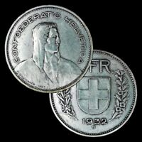 1932 B Switzerland 5 Francs / Very Nice Silver Coin / KM# 40 / William Tell