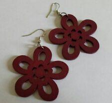 Vintage red cut out wood big flower power dangle statement pierced earrings