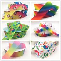 Rainbow Satin Grosgrain Ribbon hair bow DIY Crafts 50-100Yards 4cm Birthday gift