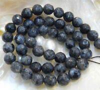 "Natural 6mm Faceted India Black Gray Labradorite Gems Round Loose Beads 15"" JL29"