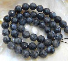 "Natural 8mm Faceted India Black Gray Labradorite Gems Round Loose Beads 15"" JL29"