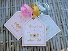 5 X Mini wine bottle labels tags PROSECCO baby shower gift tags POP when i do!