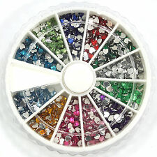 1800 Pcs Nail Art Rhinestone 12 Color Glitter Heart Shape for Tips w/ Wheel
