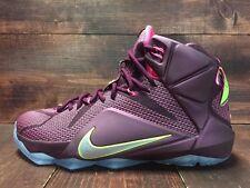 Nike Lebron XII 12 Double Helix Shoes Merlot Pink Pow Volt SZ 11 ( 684593-607 )