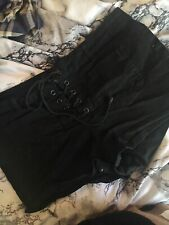Blue Asphalt Black Juniors Lace Accent Shorts