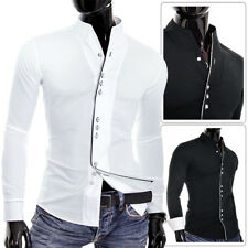 Mens Casual Formal Double Cuffs Band Grandad Collar Piping Shirt White UK Size 2xl