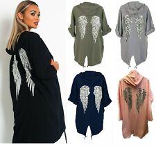 Ladies Sequin Angel Wings Back Baggy Longline Hoodie Sweatshirt Cardigan Jacket