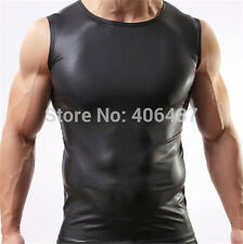 Mens Sexy Leather Look Tight Fitting Muscle Top - S M L XL - Brand New