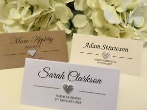 Silver Glitter Heart personalised Wedding place cards white, Ivory, Kraft