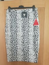 Faux leather white and grey snake Skin Skirts High Waist Pencil skirt. Size 14
