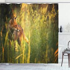 Fox Shower Curtain Vixen Mammal Summer Forest Print for Bathroom