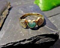 Edler 333 8 K Gold Ring Grüner Stein Smaragd Diamant Splitter Herz Liebe Love