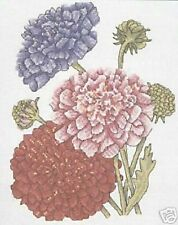 "Dahlias Cross Stitch Kit-Diseño Floral-Dmc - 14 count - 8 ""x 10"""