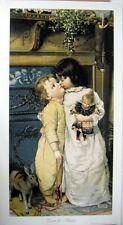 art print~UNDER THE MISTLETOE~Victorian Girl boy children doll toy vtg rep 15x27