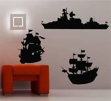 3 X Bateaux Ships Art mural autocollant vinyle chambre d'enfant