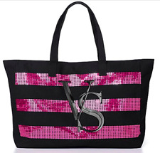 Victoria's Secret Sequins Pink Bling Tote Large Black Bag Magnetic Closure