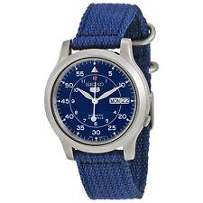 *Brand New* Seiko Men's 5 Blue Dial Blue Canvas Strap Steel Case Watch Snk807