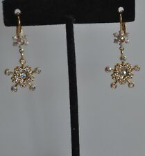 Earrings In Gold Tone Kirks Folly Snowflake And Crystal