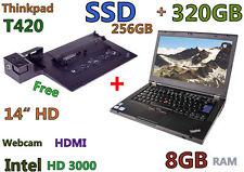 """Thinkpad T420 w/Dock (Two HDDs!! 256GB SSD + 320GB) 8GB 14"""" Webcam HDMI"""