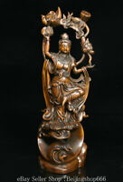 """10.4"""" Chinese Boxwood Wood Carving Kwan-yin Guan Yin Boddhisattva Lotus Statue"""