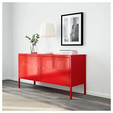 Red Metal Locker Entertainment TV Storage Unit Cabinet Stand Living Lockable