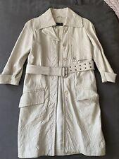 PATRIZIA PEPE WHITE Leather  BELTED  3/4 SLEEVE TRENCH COAT JACKET 40