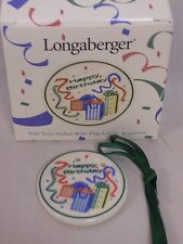 1997 LONGABERGER CERAMIC HAPPY BIRTHDAY TIE-ON, NEW IN BOX
