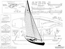 "MODEL BOAT PLANS 37"" RADIO CONTROL SAILING YACHT PLANS & BUILDING NOTES"