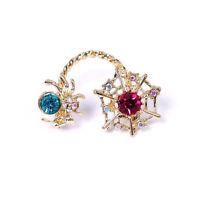 Fashion Gothic Crystal Spider Web Earrings Golden Ear Cuff Clip Stud Jewelry