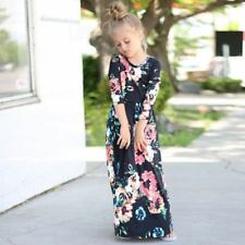 Kids Fashion Girls Long Sleeve Dresses Floral Maxi Dress Outfit Holiday Party US