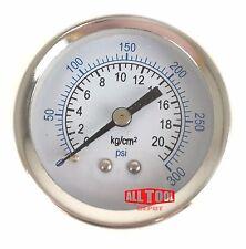 "Air Compressor Pressure / Hydraulic Gauge 2"" Face Back Mount 1/4"" NPT 0-300 PSI"
