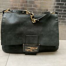 Fendi Black Shoulder Bag with Chain detail and turtoise clasp