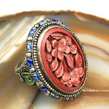 VTG Chinese Gilt Sterling Silver Filigree Enamel Cinnabar Ring Adjustable 007
