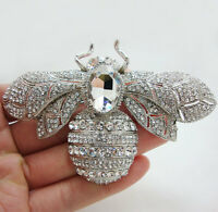 "2.36"" Rhinestone Crystal Bee Insect Clear Brooch Pin Pendant Silver-Tone"