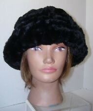 Women's M/L One Size Black Hat Faux Fur Fluffy Pattern Round Hats Winter New