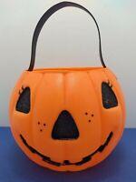Vintage A. J. Renzi Plastic Blowmold Halloween Jack O' Lantern Treat Pail Witch
