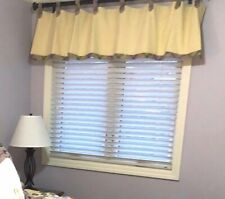 "2 Designer Handmade Yellow Gingham Plaid Tab Valances 84"" and 120"""