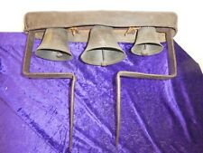Set Of 3 Leather Mounted Bronze? Large Latten/Team Horse Bells By Robert Wells