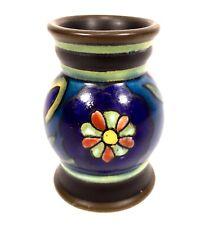 Art Deco Gouda Pottery Vase / Miniature / Blue/ Brown Antique Dutch Ceramic