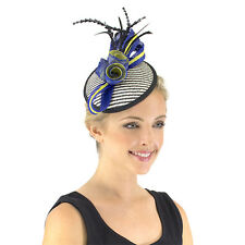 Ladies JENDI BLACK COBALT Blue & WHITE Formal Spring Racing Fascinator Headband