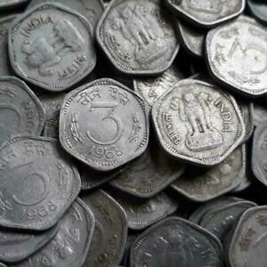 REPUBLIC INDIA - 3 PAISE - ALUMINIUM COINS - 50 PIECES LOT - MIXED YEARS COINS