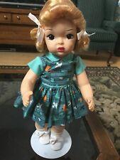 "16"" Terri Lee Blonde Raysheen Wig Bird Print tagged Dress 1950's"